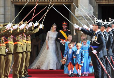LUXEMBOURG - OCTOBER 20:  Princess Stephanie of Luxembourg and Prince Guillaume of Luxembourg emerge from the Cathedral following the wedding ceremony of Prince Guillaume Of Luxembourg and Princess Stephanie of Luxembourg at the Cathedral of our Lady of Luxembourg on October 20, 2012 in Luxembourg, Luxembourg. The 30-year-old hereditary Grand Duke of Luxembourg is the last hereditary Prince in Europe to get married, marrying his 28-year old Belgian Countess bride in a lavish 2-day ceremony.  (Photo by Pascal Le Segretain/Getty Images)